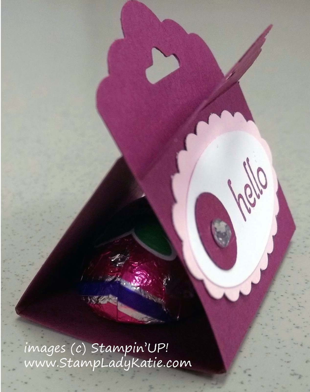Candy Treat Holder made with Stampin'UP! punches including the new Scallop Tag Topper Punch.