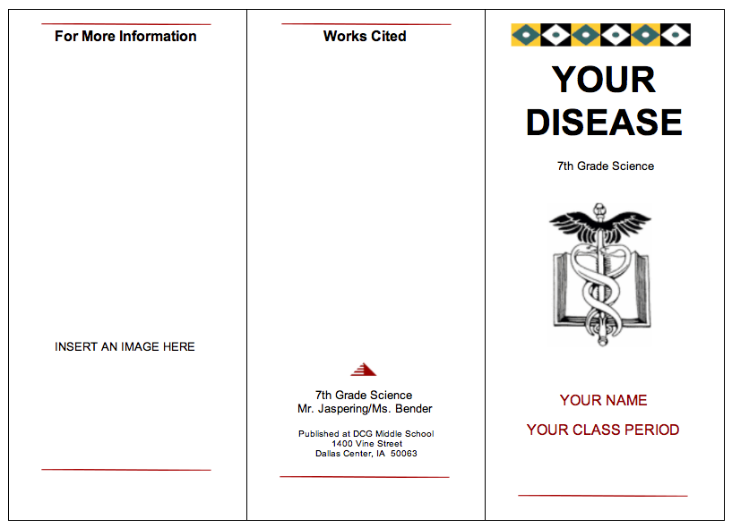 DCG Middle School Library: 7th Grade Science Disease Brochure Projects