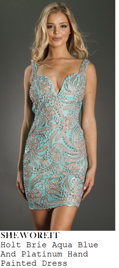 jessica-wright-aqua-blue-and-silver-floral-leaf-painted-sleeveless-bodycon-dress-dubai