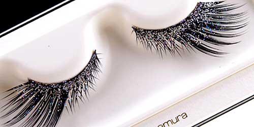 pestañas postizas con purpurina para maquillajes de fantasia