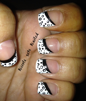 Black Polka Dots on White French Manicure Nails