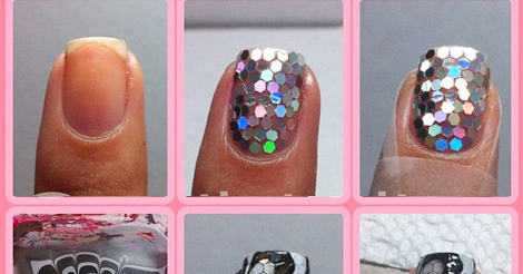 glitter and water marble nail art