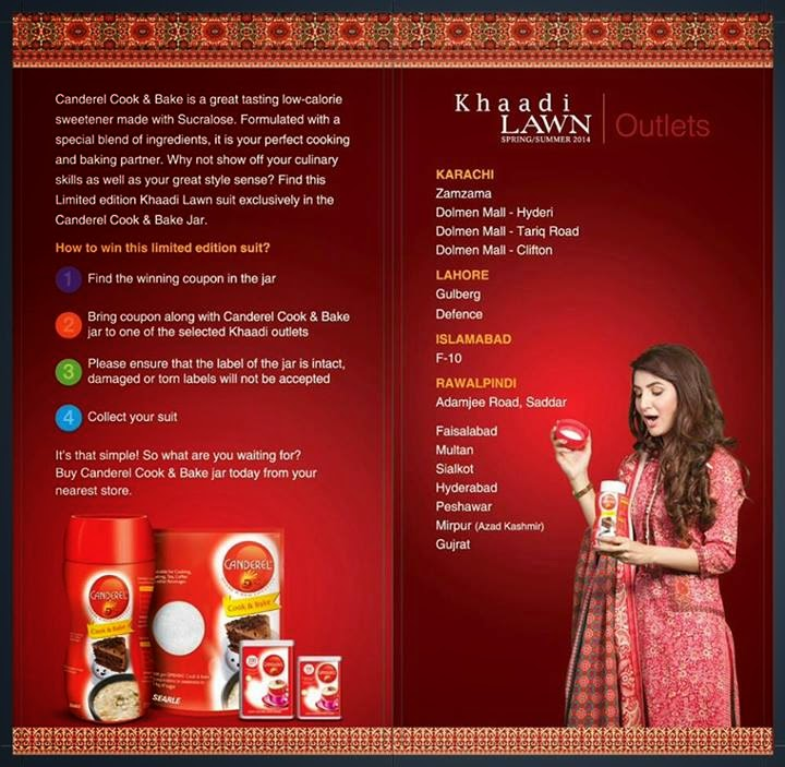 win a khaadi dress canderel pakistan 2014
