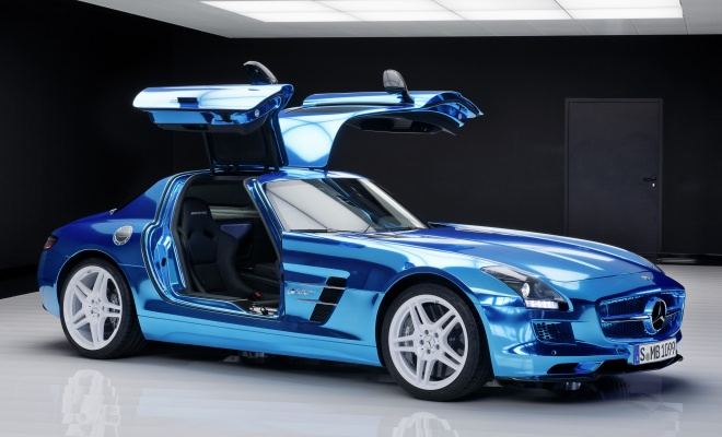 Mercedes AMG SLS Electric Drive doors open
