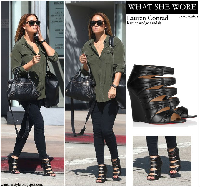 f16a78998bf0 lauren conrad black leather sandals streetstyle