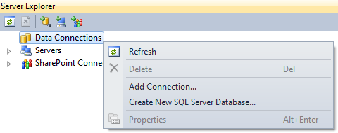 adding data connection in sql server
