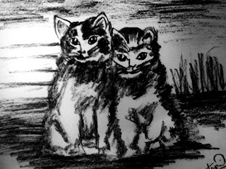 Cats painting with Charcoal