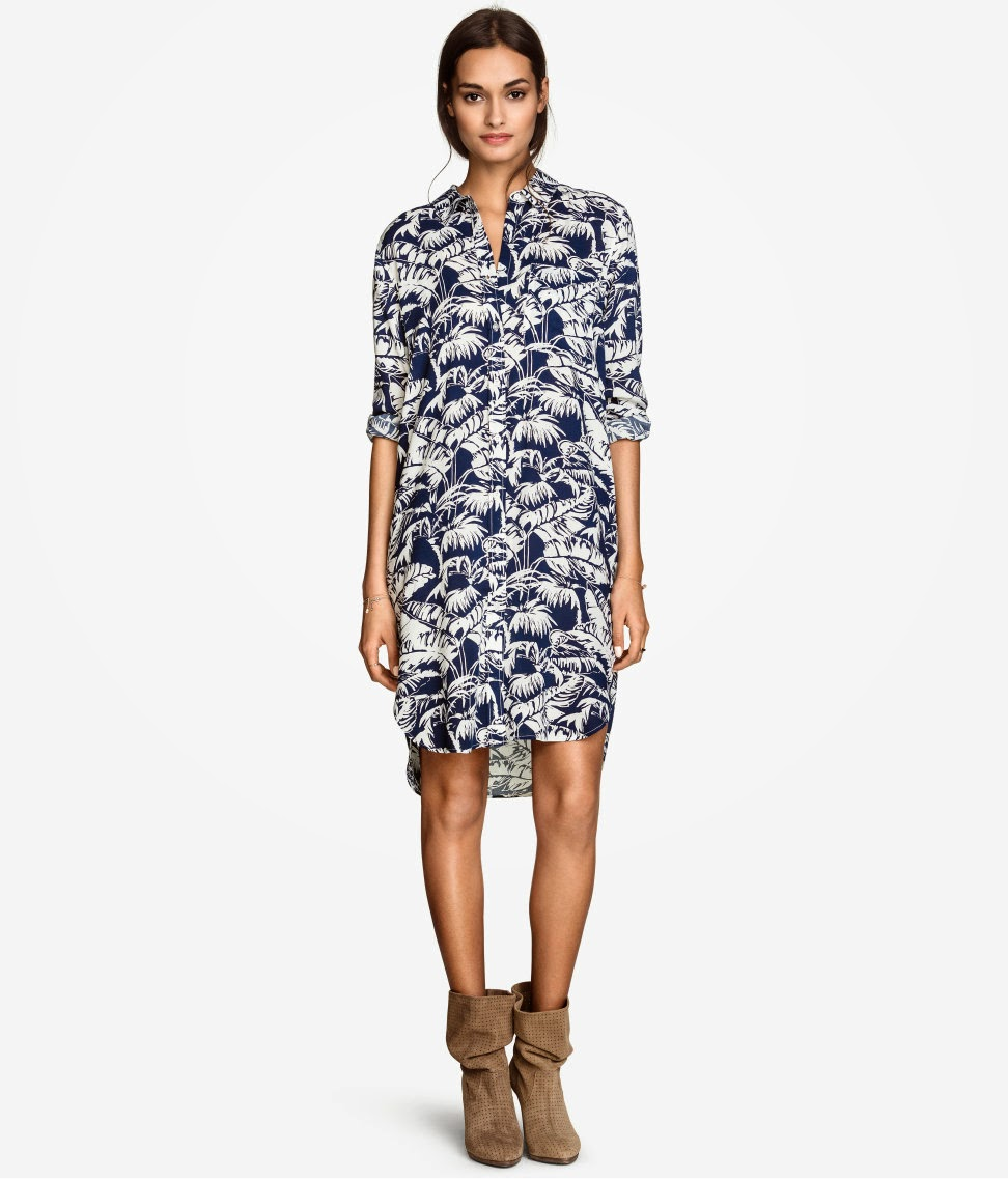 blue white leaf print shirt dress,