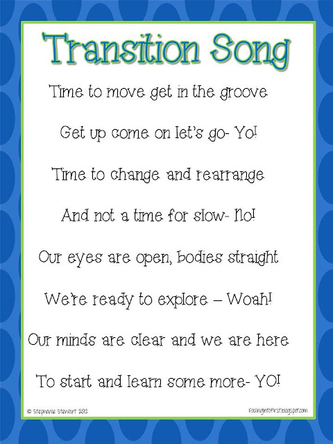 Classroom Transition Ideas ~ Falling into first transition song giveaways