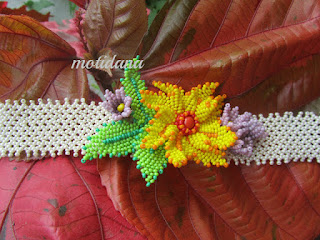 russian leaves beadwork , beaded bracelet