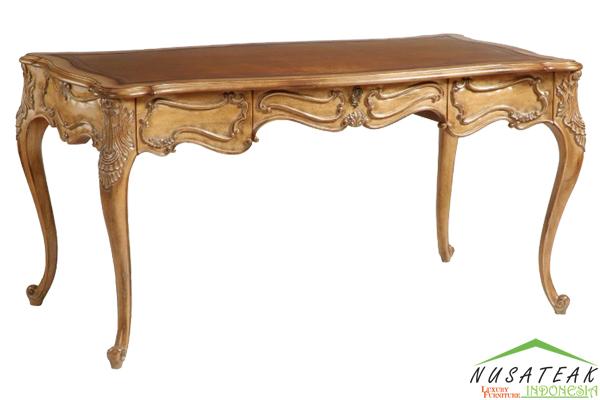 Brown Carved French Desk - Nusa Teak