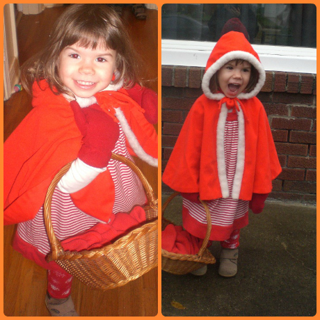Preschooler dressed as Little Red Riding Hood