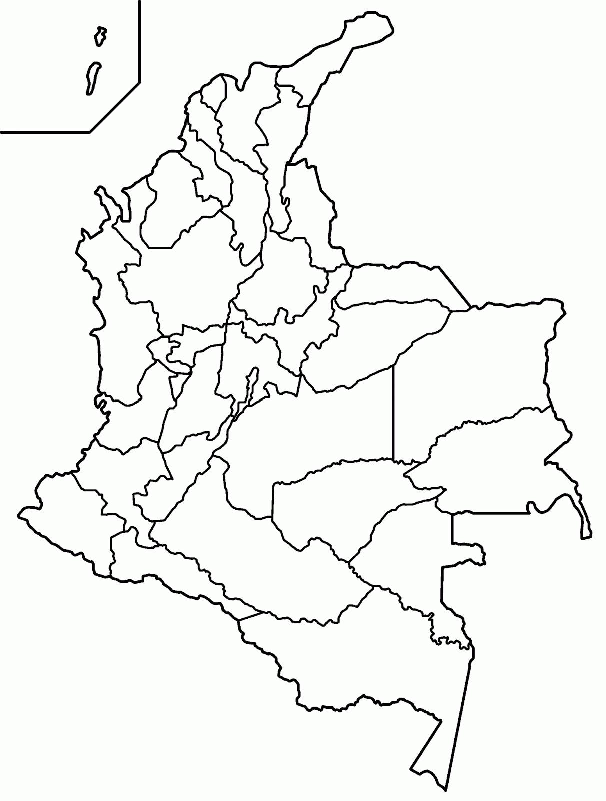 Mapa de Colombia con Nombres y División Política - Colorear