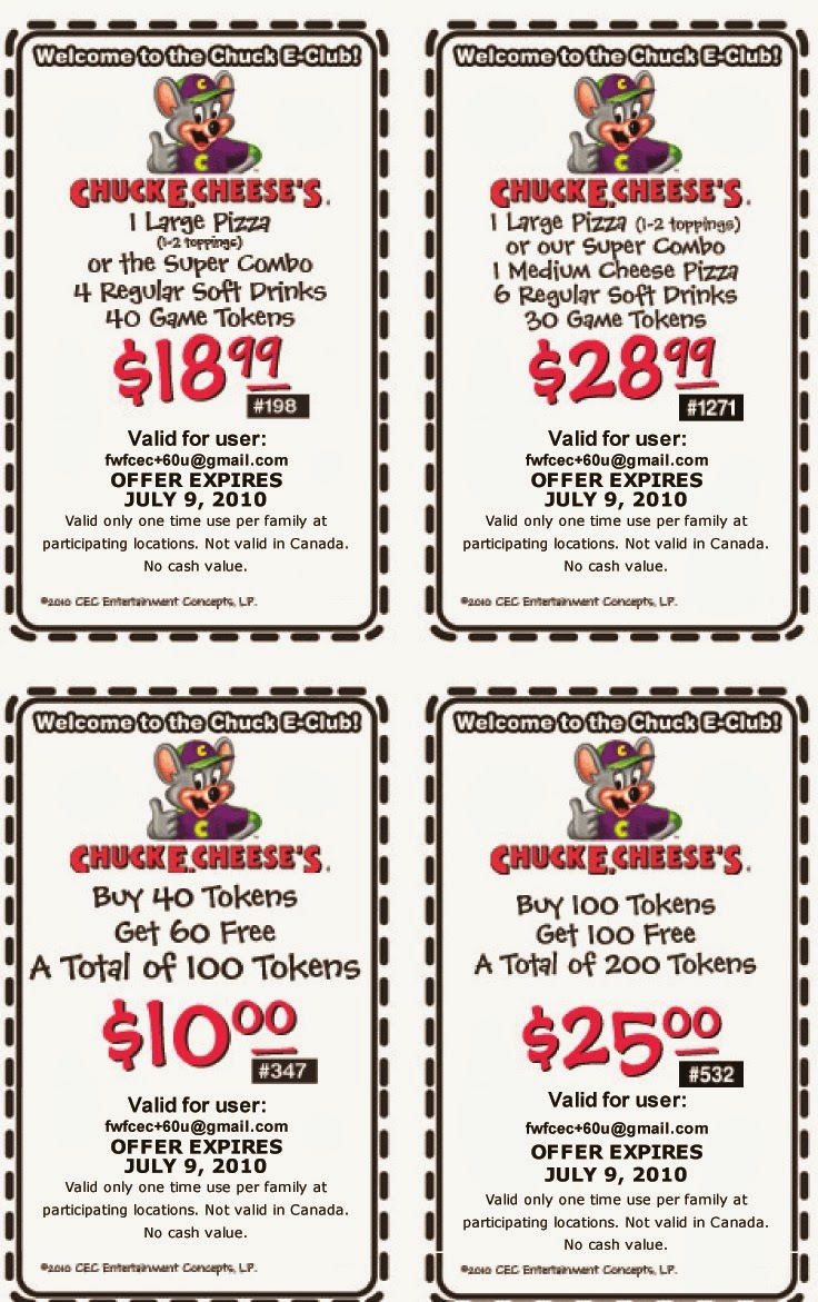 Chuck e cheese coupons on phone