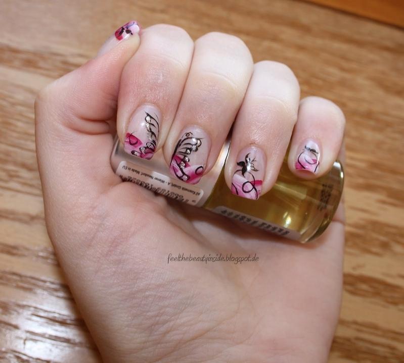 feel the beauty inside april fingern gel nageldesign pink rosa mit schmetterlingen. Black Bedroom Furniture Sets. Home Design Ideas