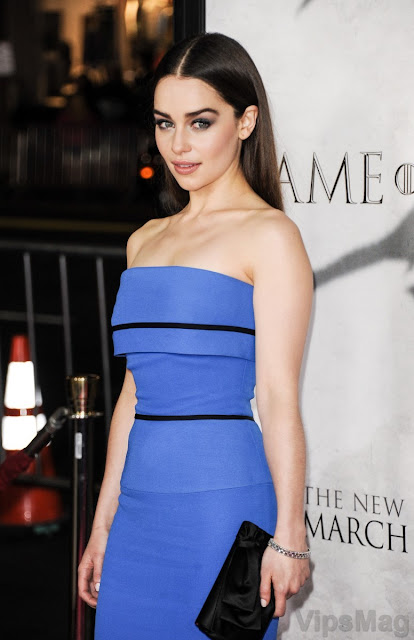 cute Emilia Clarke wearing sexy blue dress for Game of Thrones season 3 premiere in LA - pic 1