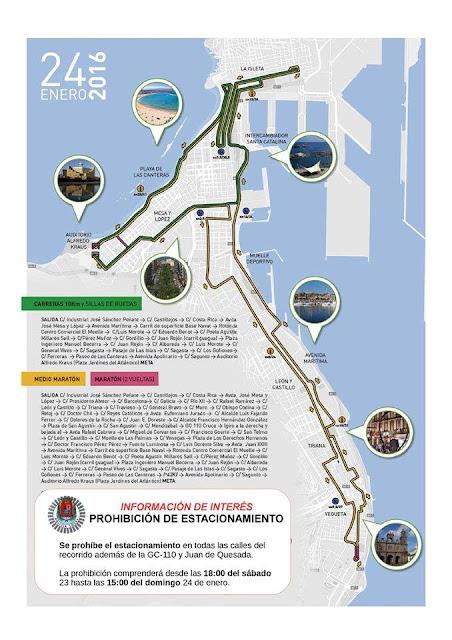 Mapa de los lugares donde estará prohibido aparcar por Gran Canaria Maratón 2016