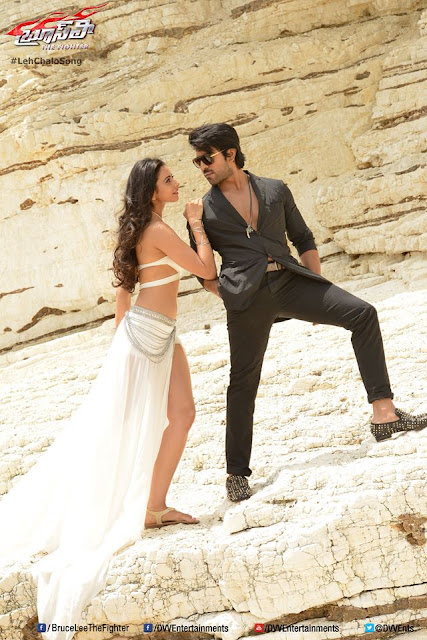 Ram Charan Bruce Lee movie latest HQ wallpapers, Ram Charan and Rakul Preet Singh latest images from Bruce Lee, Ram Charan and Rakul Preet Singh latest pics of Bruce Lee movie