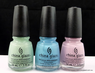 China Glaze Re-freshmint, Bahamian Escape and Something Sweet