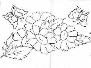 risco para pintar gerberas e borboletas