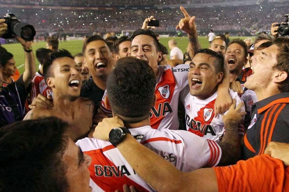 Festejo, jugadores, River, River Plate, eliminación, Boca, Boca Juniors, Copa Sudamericana 2014, Sudamericana 2014, 2014,
