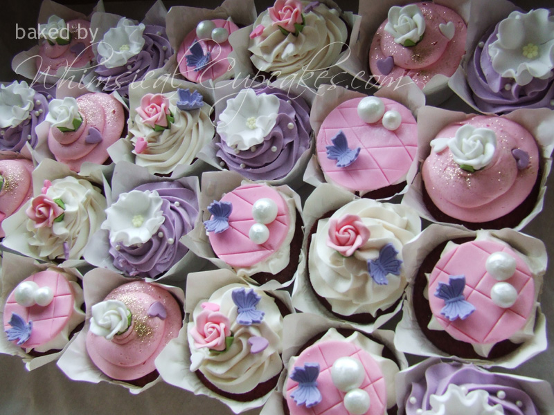 whimsical pinkwhite and purple cupcakes