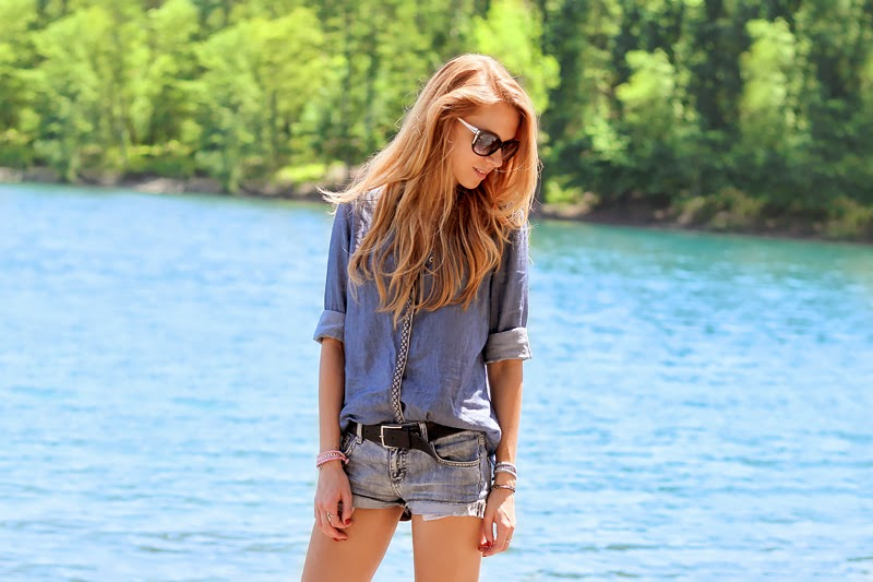 denim on denim outfit, shirt and cutoffs, summer