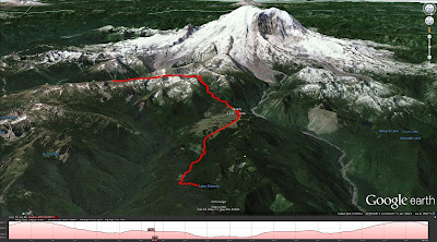 Our Hike Route from Sunrise to Lake Eleanor (via Canon GPS Logger and Google Earth)