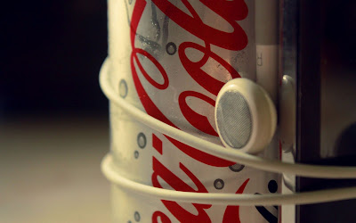 Coca Cola Light Can and iPhone Headphone Close Up Photo HD Desktop Wallpaper