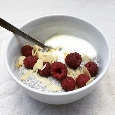 porridge chia yaourt framboises amandes