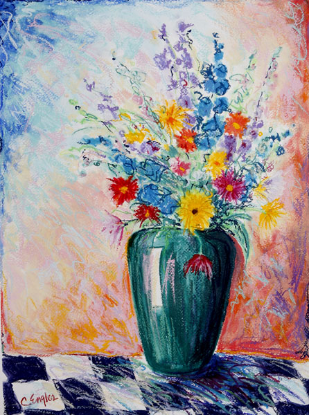 Carol Engles Art Flowers In Green Vase On Checkerboard Floral