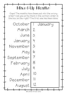 Little Green: Freebie Friday: Mixed-Up Months
