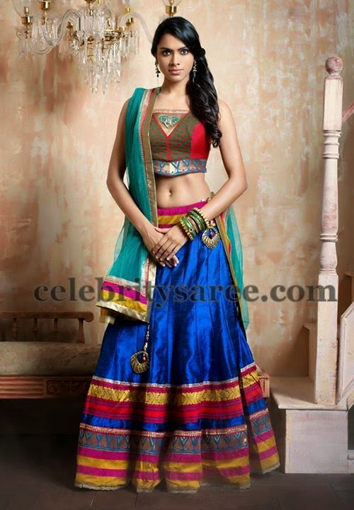 Amala Paul Blue Silk Lehenga