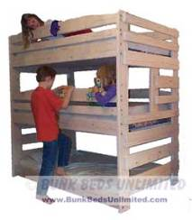 this is the triple bunk bed which holds three standard twin mattresses and works very well in a room with standard 8foot ceilings