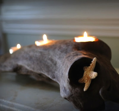 driftwood votive candle holder