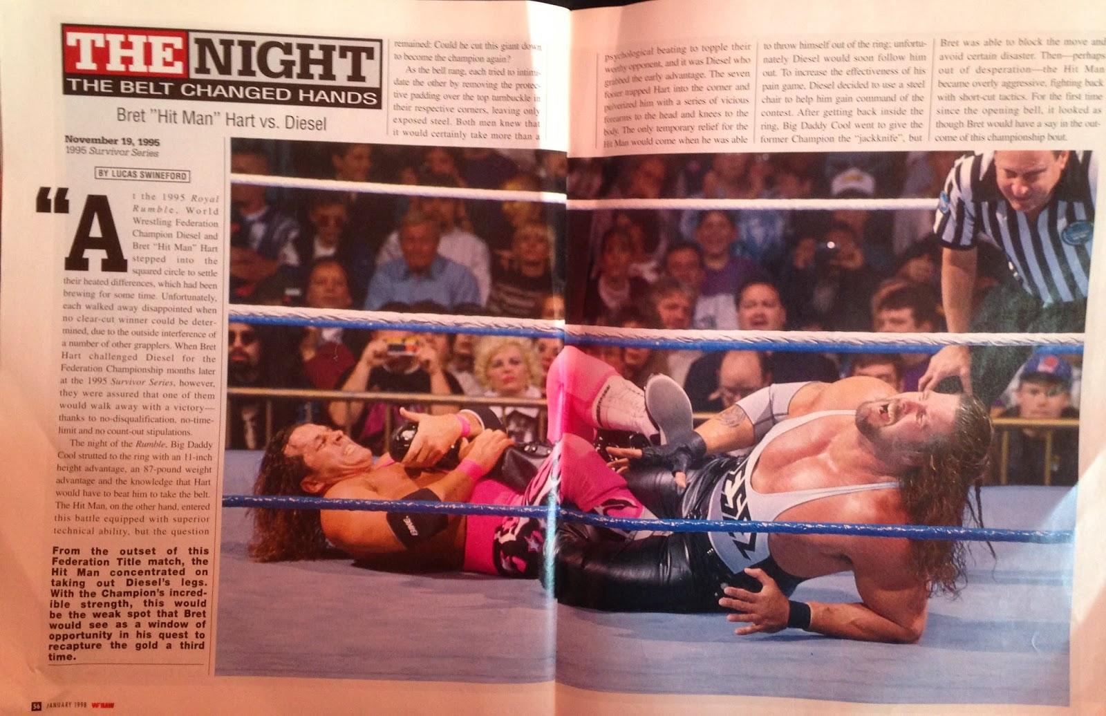 WWE: WWF RAW MAGAZINE - January 1998 - Bret Hart vs. Diesel Survivor Series 1995 recap