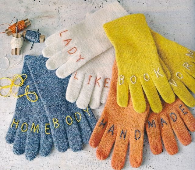 DIY embroidery knuckle tattoo gloves