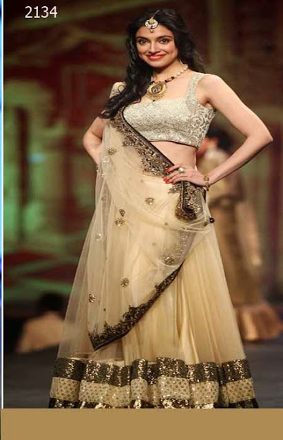 Latest Designer Bollywood Cream Lehenga