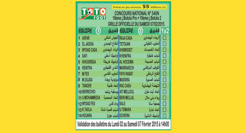 TOTO FOOT COUNCOURS NATIONAL N 540N
