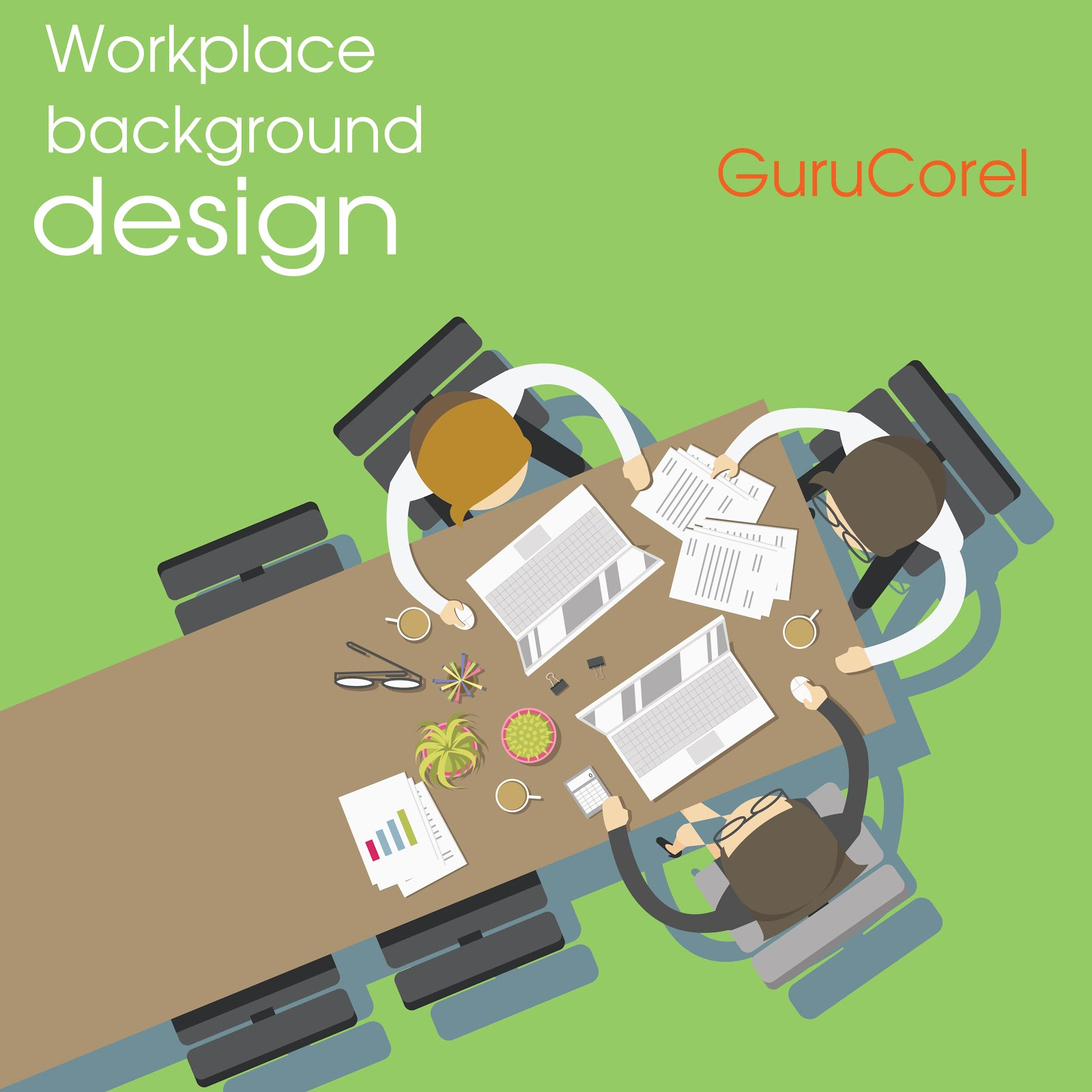 Free Vector Workplace Background Design - Guru Corel