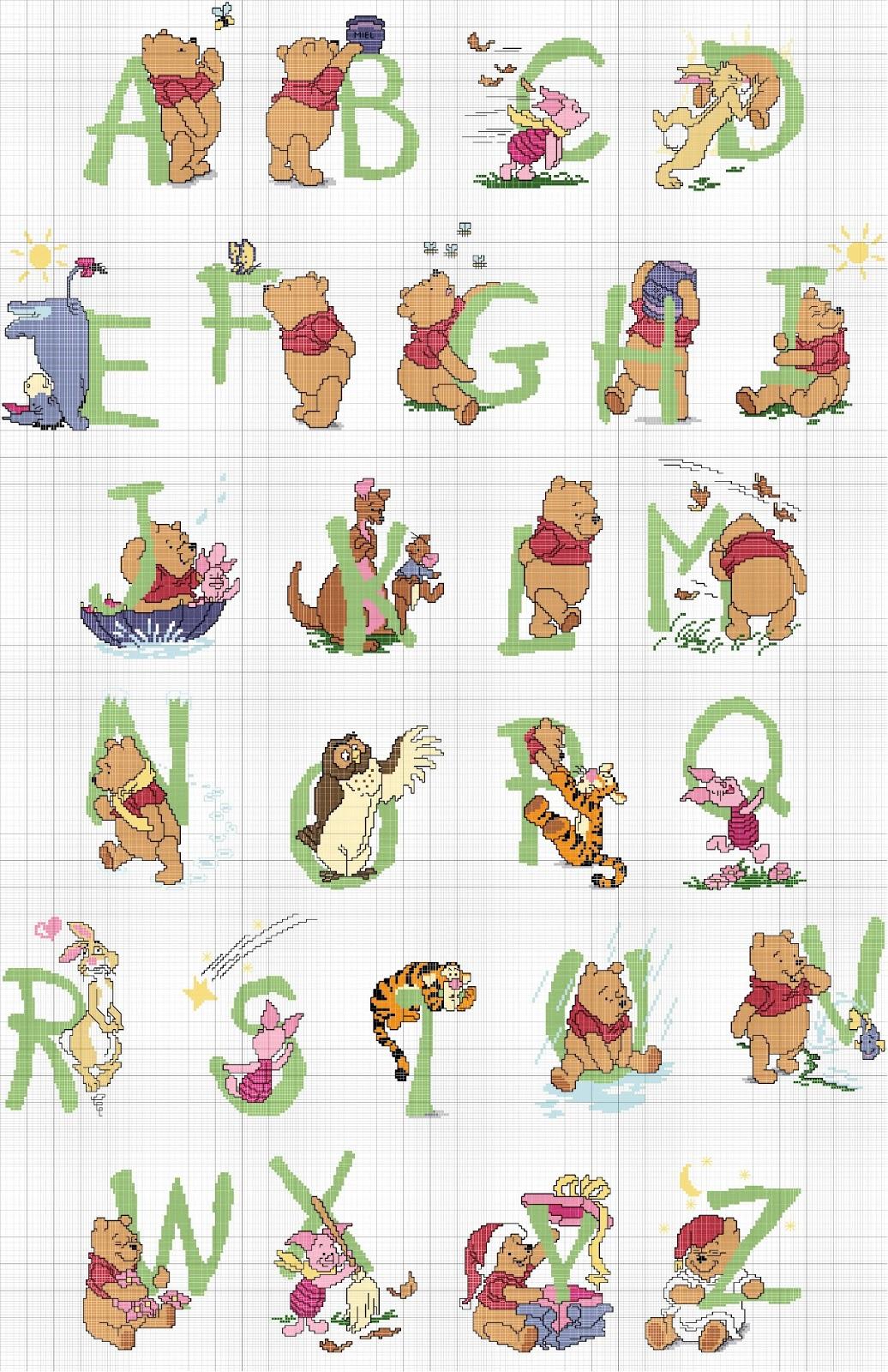 Artes da nique gr fico em ponto cruz monograma ursinho pooh for Alfabeto punto croce disney gratis