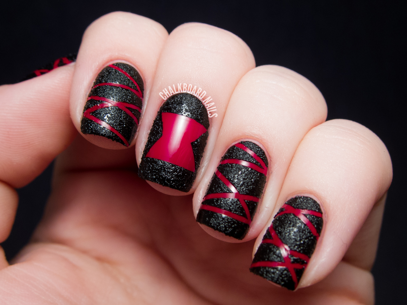 Line Texture On Nails : Tutorial black widow spider textured nail art