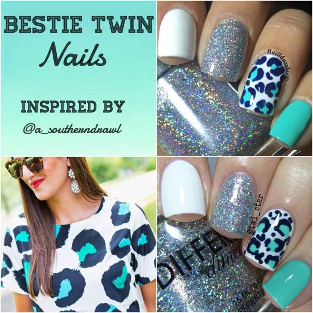 Bestie Twin Nails Aqua and White leopard mani