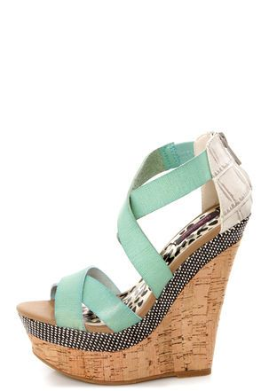 Trendy Mint Platform Wedge Sandals