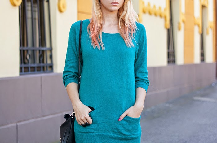 Skinny Buddha H&M teal sweater layers