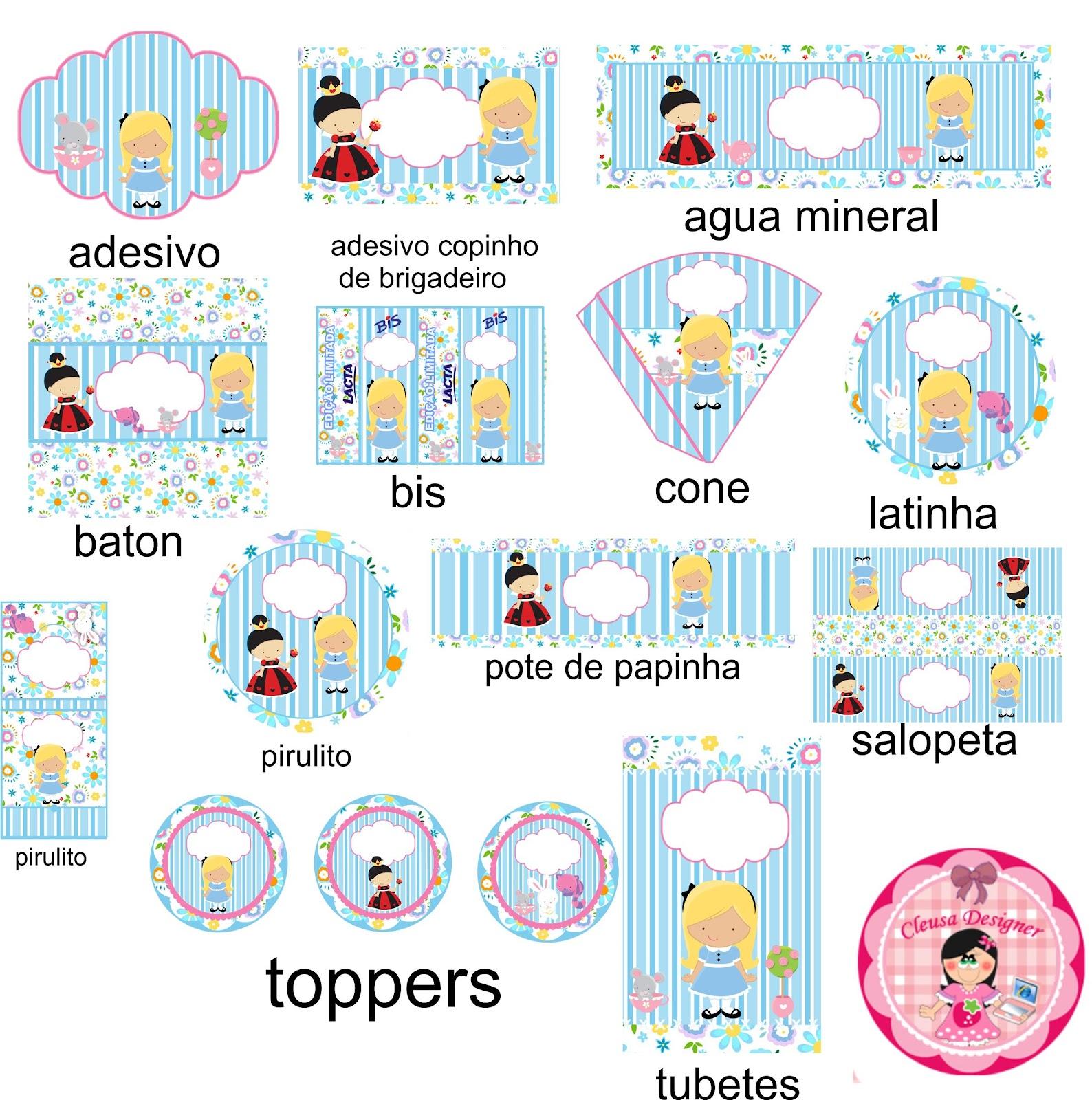 Muito Cleusa Designer: kit festa alice no pais da maravilhas JS61