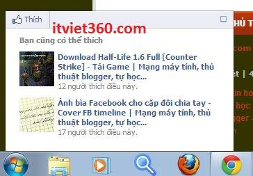 Recommendations Bar Facebook (FB) - Bạn cũng có thể thích cho blogspot