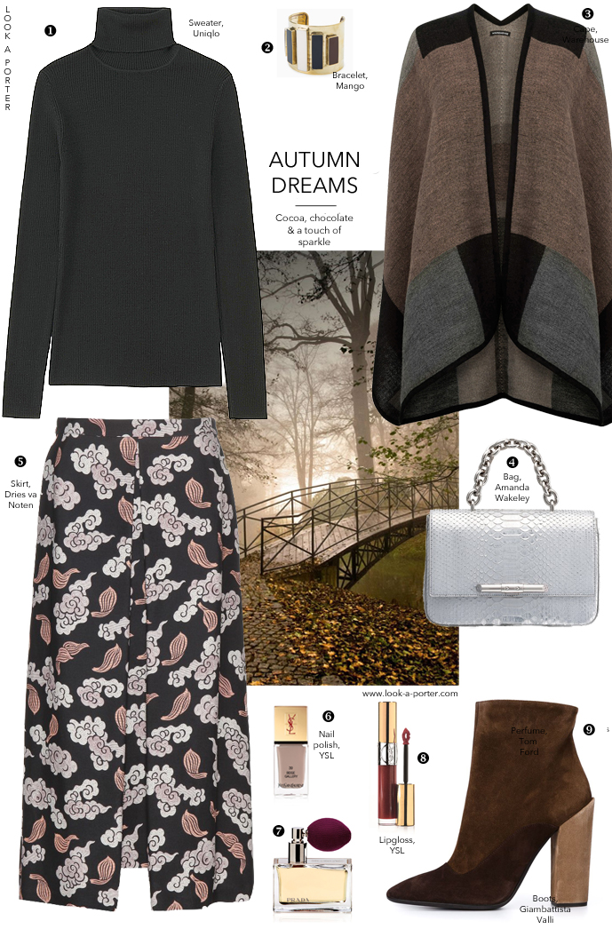 Styling a beautiful brocade skirt with simple greys and chocolate hues for a cosy autumn look. via look-a-porter.com style & fashion blog / giambattista valli, amanda wakeley, dries van noten, ysl, prada, warehouse