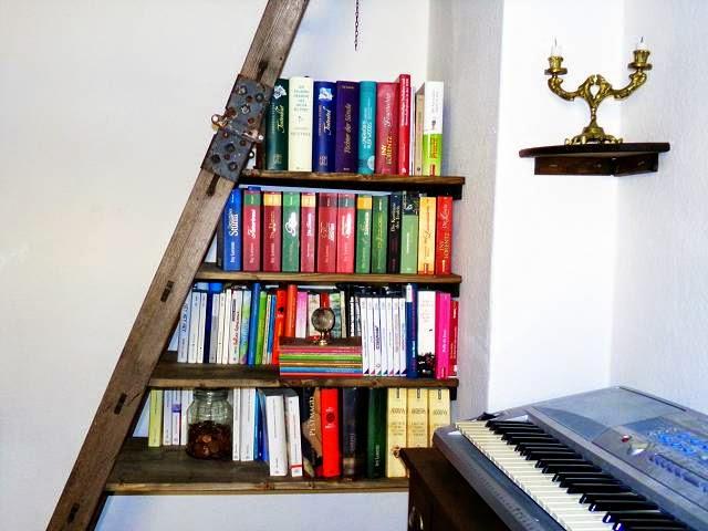 survivalmodus b cher regal aus alter leiter bauen. Black Bedroom Furniture Sets. Home Design Ideas