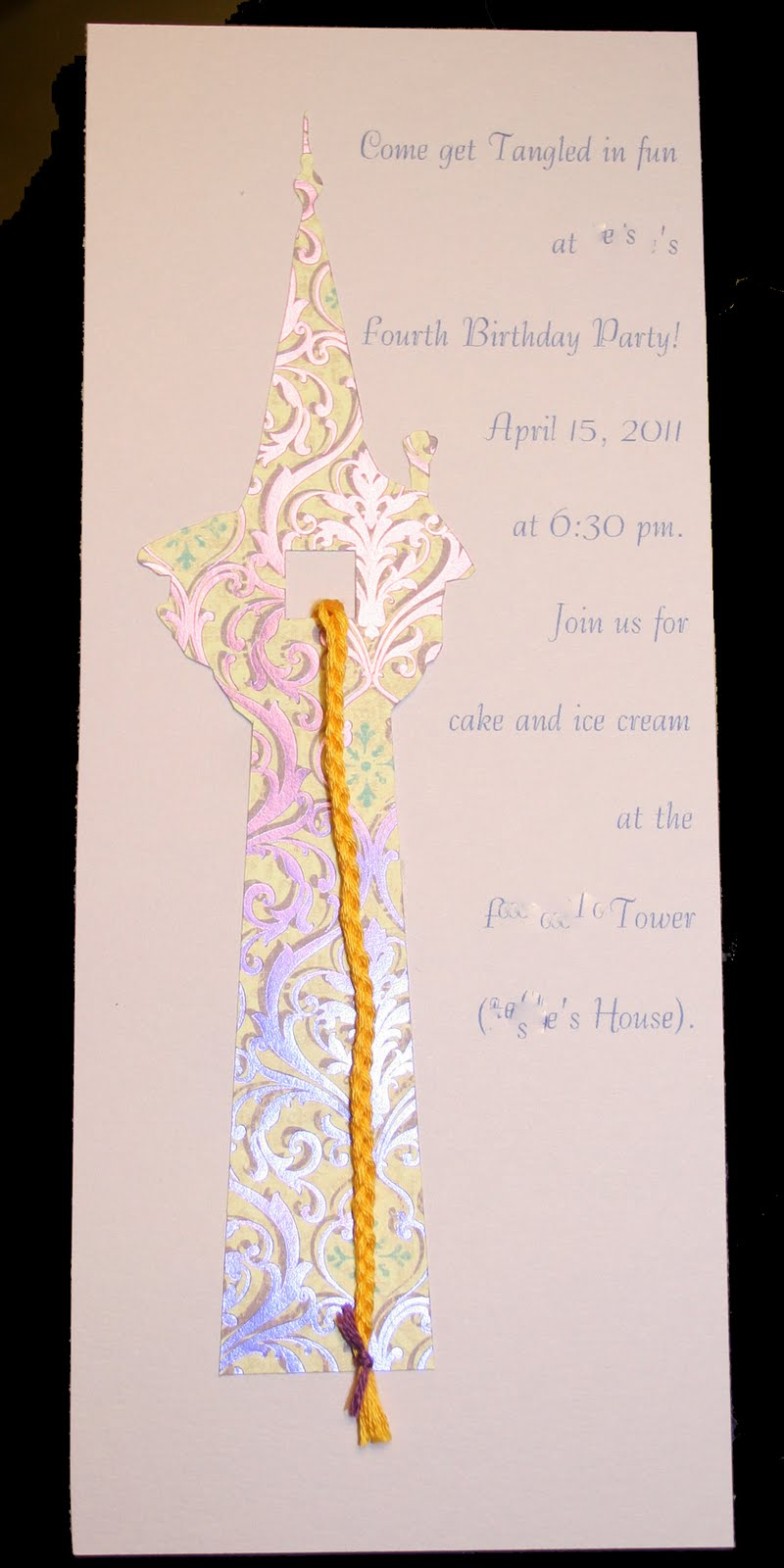 Dreaming of Stitches Rapunzel Tangled Birthday Party Invitations